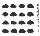 cloud black icon set. safe ... | Shutterstock .eps vector #746742952