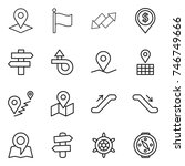 thin line icon set   pointer ... | Shutterstock .eps vector #746749666