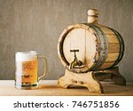 wooden beer keg and mug of... | Shutterstock . vector #746751856