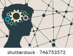 silhouette of a woman's head.... | Shutterstock .eps vector #746753572