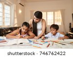 indian woman checking how her... | Shutterstock . vector #746762422