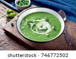green pea soup on wooden... | Shutterstock . vector #746772502
