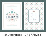 christmas greeting card design... | Shutterstock .eps vector #746778265