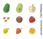 fruit vector icon set | Shutterstock .eps vector #746780026