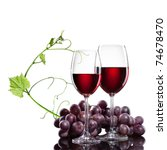 Red Wine In Glasses With Grape...