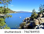 Beautiful view of the Big Bear Lake at the entrance from the dam. California.