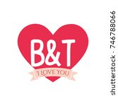 b and t letter inside heart for ... | Shutterstock .eps vector #746788066