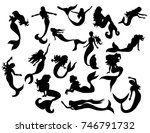 silhouette of a mermaid... | Shutterstock .eps vector #746791732