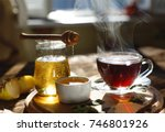 healthy breakfast. tea drinking.... | Shutterstock . vector #746801926