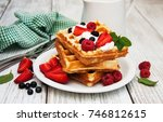 waffles with strawberries  ... | Shutterstock . vector #746812615