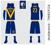 basketball uniform template... | Shutterstock .eps vector #746819116