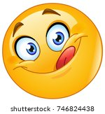 yummy and hungry emoticon... | Shutterstock .eps vector #746824438