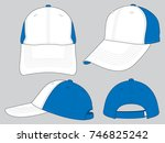 white blue baseball cap design | Shutterstock .eps vector #746825242