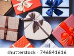 gifts background top view.... | Shutterstock . vector #746841616