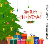 decorated christmas tree with... | Shutterstock .eps vector #746842918