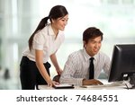 Corporate themed image of a people working - stock photo