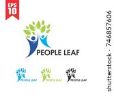 people leaf healthcare logo | Shutterstock .eps vector #746857606
