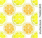 citrus watercolor seamless... | Shutterstock . vector #746861845