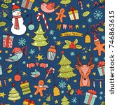 christmas seamless pattern with ... | Shutterstock .eps vector #746863615