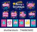 happy new year sketch style set.... | Shutterstock .eps vector #746865682