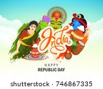 happy 68th republic day of... | Shutterstock .eps vector #746867335