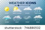 weather icons set vector. sunny ... | Shutterstock .eps vector #746880532