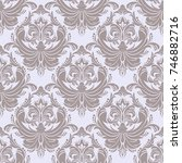seamless retro damask wallpaper ... | Shutterstock . vector #746882716