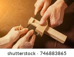 a close up of a skinner and his ... | Shutterstock . vector #746883865
