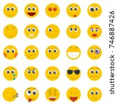emoticon icon set isolated.... | Shutterstock .eps vector #746887426