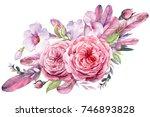 wedding flowers  bridal bouquet ... | Shutterstock . vector #746893828