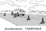 a car on the driving test road... | Shutterstock .eps vector #746894365