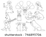 party dogs line art | Shutterstock .eps vector #746895706