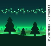 winter trees and garland in... | Shutterstock .eps vector #746900665