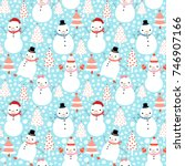 cute vector christmas seamless... | Shutterstock .eps vector #746907166