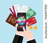 businessman's hand holding... | Shutterstock .eps vector #746907985