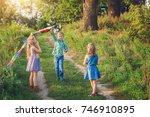 children s having fun and happy ... | Shutterstock . vector #746910895