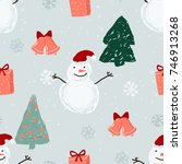 seamless pattern with snowmen ... | Shutterstock .eps vector #746913268