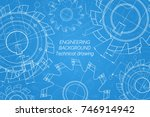 mechanical engineering drawings ... | Shutterstock .eps vector #746914942