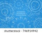 mechanical engineering drawings ... | Shutterstock .eps vector #746914942