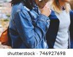 blue denim jacket and parka.... | Shutterstock . vector #746927698