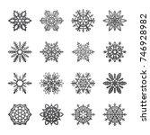 separate snowflakes doodles... | Shutterstock .eps vector #746928982