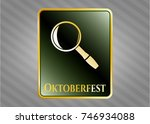 golden badge with magnifying... | Shutterstock .eps vector #746934088