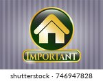 shiny badge with home icon and ...   Shutterstock .eps vector #746947828