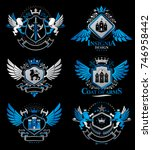 set of luxury heraldic vector... | Shutterstock .eps vector #746958442
