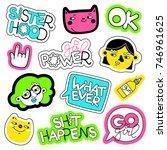 feminism vector patch set.... | Shutterstock .eps vector #746961625