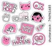 feminism vector patch set.... | Shutterstock .eps vector #746961685