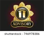 gold badge with gift box icon... | Shutterstock .eps vector #746978386