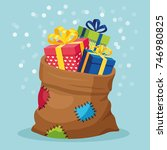 santa claus  bag with patch ... | Shutterstock .eps vector #746980825