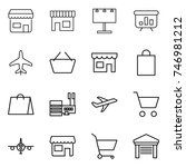 thin line icon set   shop ... | Shutterstock .eps vector #746981212