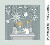 christmas decorating vintage... | Shutterstock .eps vector #746983888